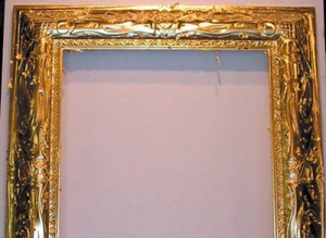 After carving the moulding to resemble the original Couse frame, the first step was applying 22k gold leaf.